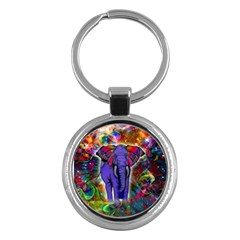 Abstract Elephant With Butterfly Ears Colorful Galaxy Key Chains (round)  by EDDArt