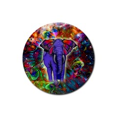 Abstract Elephant With Butterfly Ears Colorful Galaxy Rubber Coaster (round)  by EDDArt