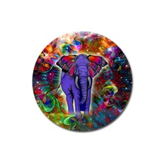 Abstract Elephant With Butterfly Ears Colorful Galaxy Magnet 3  (round) by EDDArt
