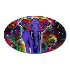 Abstract Elephant With Butterfly Ears Colorful Galaxy Oval Magnet by EDDArt
