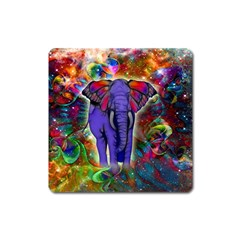 Abstract Elephant With Butterfly Ears Colorful Galaxy Square Magnet by EDDArt