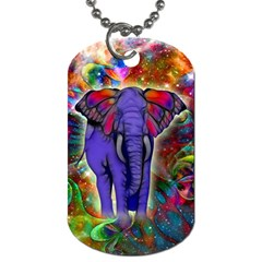Abstract Elephant With Butterfly Ears Colorful Galaxy Dog Tag (two Sides) by EDDArt