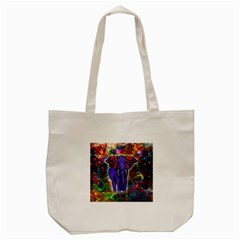 Abstract Elephant With Butterfly Ears Colorful Galaxy Tote Bag (cream) by EDDArt