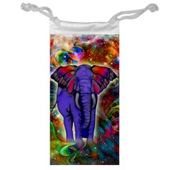 Abstract Elephant With Butterfly Ears Colorful Galaxy Jewelry Bag by EDDArt