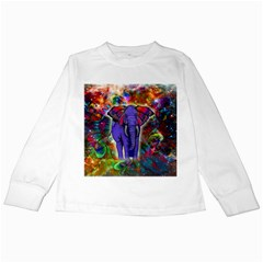 Abstract Elephant With Butterfly Ears Colorful Galaxy Kids Long Sleeve T Shirts by EDDArt