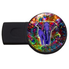Abstract Elephant With Butterfly Ears Colorful Galaxy Usb Flash Drive Round (4 Gb) by EDDArt