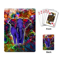 Abstract Elephant With Butterfly Ears Colorful Galaxy Playing Card by EDDArt