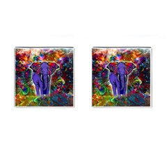 Abstract Elephant With Butterfly Ears Colorful Galaxy Cufflinks (square) by EDDArt