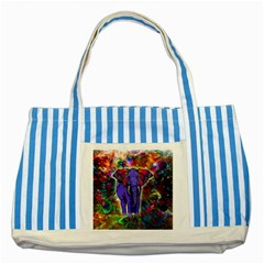 Abstract Elephant With Butterfly Ears Colorful Galaxy Striped Blue Tote Bag by EDDArt