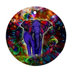 Abstract Elephant With Butterfly Ears Colorful Galaxy Round Ornament (two Sides) by EDDArt