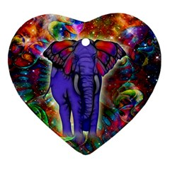 Abstract Elephant With Butterfly Ears Colorful Galaxy Heart Ornament (two Sides) by EDDArt