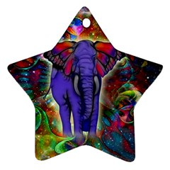 Abstract Elephant With Butterfly Ears Colorful Galaxy Star Ornament (two Sides) by EDDArt
