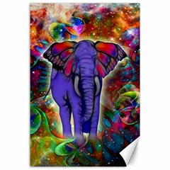 Abstract Elephant With Butterfly Ears Colorful Galaxy Canvas 24  X 36  by EDDArt
