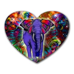 Abstract Elephant With Butterfly Ears Colorful Galaxy Heart Mousepads by EDDArt
