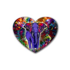 Abstract Elephant With Butterfly Ears Colorful Galaxy Rubber Coaster (heart)  by EDDArt
