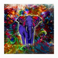 Abstract Elephant With Butterfly Ears Colorful Galaxy Medium Glasses Cloth by EDDArt