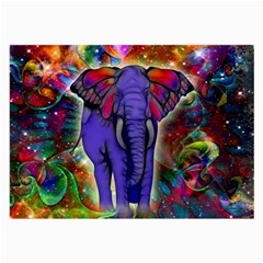Abstract Elephant With Butterfly Ears Colorful Galaxy Large Glasses Cloth (2 Side) by EDDArt