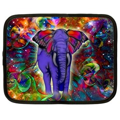 Abstract Elephant With Butterfly Ears Colorful Galaxy Netbook Case (large) by EDDArt