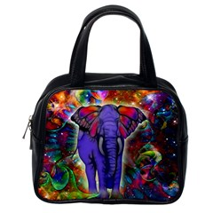 Abstract Elephant With Butterfly Ears Colorful Galaxy Classic Handbags (one Side) by EDDArt