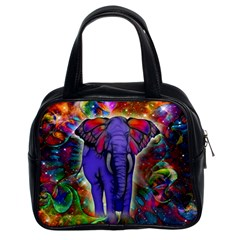 Abstract Elephant With Butterfly Ears Colorful Galaxy Classic Handbags (2 Sides) by EDDArt