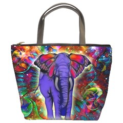 Abstract Elephant With Butterfly Ears Colorful Galaxy Bucket Bags by EDDArt