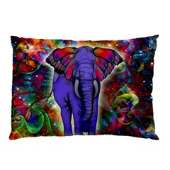 Abstract Elephant With Butterfly Ears Colorful Galaxy Pillow Case by EDDArt