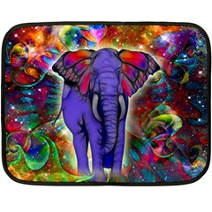 Abstract Elephant With Butterfly Ears Colorful Galaxy Fleece Blanket (mini) by EDDArt