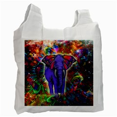 Abstract Elephant With Butterfly Ears Colorful Galaxy Recycle Bag (two Side)  by EDDArt