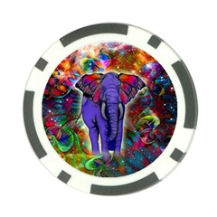 Abstract Elephant With Butterfly Ears Colorful Galaxy Poker Chip Card Guard (10 Pack) by EDDArt