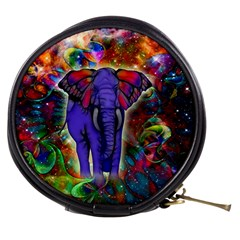Abstract Elephant With Butterfly Ears Colorful Galaxy Mini Makeup Bags by EDDArt