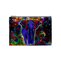 Abstract Elephant With Butterfly Ears Colorful Galaxy Cosmetic Bag (medium)  by EDDArt