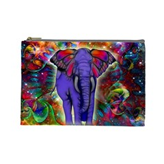 Abstract Elephant With Butterfly Ears Colorful Galaxy Cosmetic Bag (large)  by EDDArt
