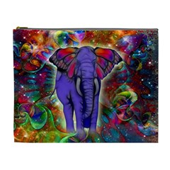 Abstract Elephant With Butterfly Ears Colorful Galaxy Cosmetic Bag (xl) by EDDArt