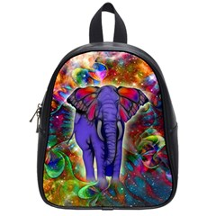 Abstract Elephant With Butterfly Ears Colorful Galaxy School Bags (small)  by EDDArt