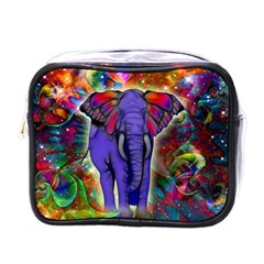 Abstract Elephant With Butterfly Ears Colorful Galaxy Mini Toiletries Bags by EDDArt