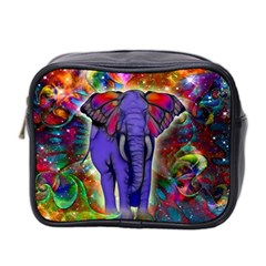 Abstract Elephant With Butterfly Ears Colorful Galaxy Mini Toiletries Bag 2 Side by EDDArt