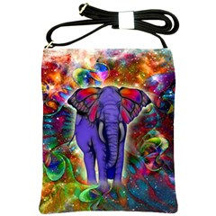 Abstract Elephant With Butterfly Ears Colorful Galaxy Shoulder Sling Bags by EDDArt