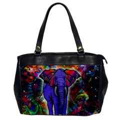 Abstract Elephant With Butterfly Ears Colorful Galaxy Office Handbags by EDDArt