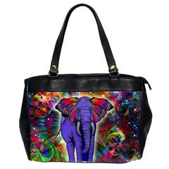 Abstract Elephant With Butterfly Ears Colorful Galaxy Office Handbags (2 Sides)  by EDDArt