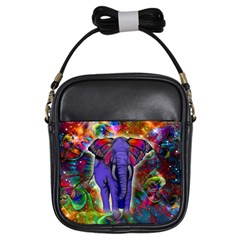 Abstract Elephant With Butterfly Ears Colorful Galaxy Girls Sling Bags by EDDArt