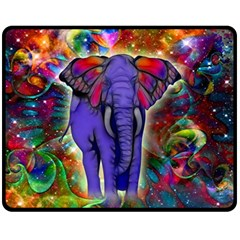 Abstract Elephant With Butterfly Ears Colorful Galaxy Fleece Blanket (medium)  by EDDArt