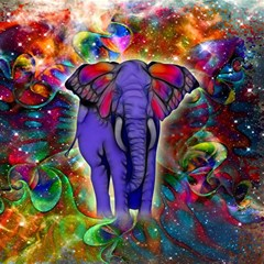 Abstract Elephant With Butterfly Ears Colorful Galaxy Magic Photo Cubes by EDDArt