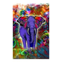 Abstract Elephant With Butterfly Ears Colorful Galaxy Shower Curtain 48  X 72  (small)  by EDDArt