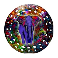 Abstract Elephant With Butterfly Ears Colorful Galaxy Round Filigree Ornament (two Sides) by EDDArt