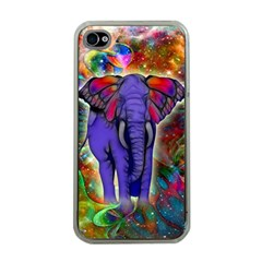 Abstract Elephant With Butterfly Ears Colorful Galaxy Apple Iphone 4 Case (clear) by EDDArt