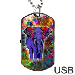 Abstract Elephant With Butterfly Ears Colorful Galaxy Dog Tag Usb Flash (one Side) by EDDArt