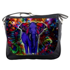 Abstract Elephant With Butterfly Ears Colorful Galaxy Messenger Bags by EDDArt