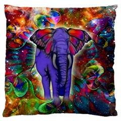 Abstract Elephant With Butterfly Ears Colorful Galaxy Large Cushion Case (one Side) by EDDArt
