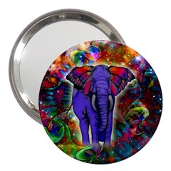 Abstract Elephant With Butterfly Ears Colorful Galaxy 3  Handbag Mirrors by EDDArt