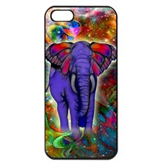 Abstract Elephant With Butterfly Ears Colorful Galaxy Apple Iphone 5 Seamless Case (black) by EDDArt